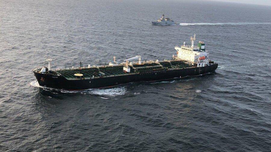 موقعیت پنجمین نفتکش ایرانی نسبت به آب های ونزوئلا